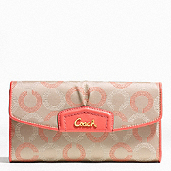 COACH ASHLEY DOTTED OP ART CHECKBOOK WALLET - BRASS/KHAKI TEAROSE/TEAROSE - F48049