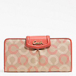 COACH ASHLEY DOTTED OP ART SLIM ENVELOPE - BRASS/KHAKI TEAROSE/TEAROSE - F48050