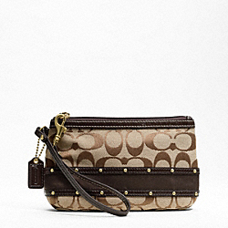 STUDDED SATEEN STRIPE MEDIUM WRISTLET
