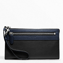 COACH COLORBLOCK ZIPPY WALLET - SILVER/BLACK NAVY MULTICOLOR - F48176