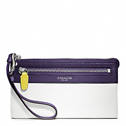COACH COLORBLOCK ZIPPY WALLET - SILVER/CHALK/MARINE - F48176