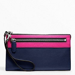 COACH COLORBLOCK ZIPPY WALLET - SILVER/FUCHSIA MULTICOLOR - F48176
