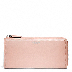 COACH LEATHER SLIM ZIP - SILVER/BLUSH - F48178