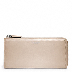 COACH LEATHER SLIM ZIP WALLET - SILVER/LIGHT GOLDGHT SAND - F48178