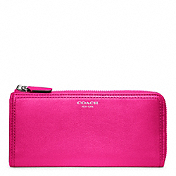 COACH LEATHER SLIM ZIP WALLET - SILVER/FUCHSIA - F48178