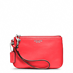 COACH LEATHER SMALL WRISTLET - SILVER/BRIGHT CORAL - F48179
