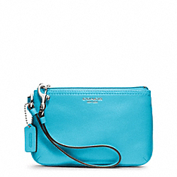 COACH LEATHER SMALL WRISTLET - SILVER/ROBIN - F48179