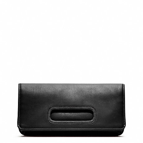 COACH LEATHER FOLD OVER CLUTCH - SILVER/BLACK - f48406