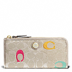 COACH POPPY EMBROIDERED SIGNATURE SLIM ZIP WALLET - BRASS/LIGHT KHAKI MULTI - F48417
