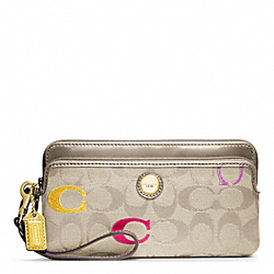 COACH POPPY EMBROIDERED SIGNATURE DOUBLE ZIP WALLET - ONE COLOR - F48419
