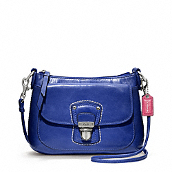 COACH POPPY LEATHER MINI GROOVY CROSSBODY - SILVER/COBALT - F48428
