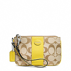 SIGNATURE SMALL WRISTLET - f48435 - SILVER/LIGHT GOLDGHT KHAKI/LEMON