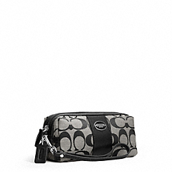 COACH SIGNATURE COSMETIC CASE - SILVER/BLACK/WHITE/BLACK - F48444
