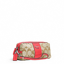 SIGNATURE COSMETIC CASE - SILVER/LT KHAKI/BRIGHT CORAL - COACH F48444