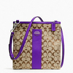 LARGE SWINGPACK IN SIGNATURE FABRIC - SILVER/KHAKI/ULTRAVIOLET - COACH F48446