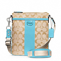 SIGNATURE SWINGPACK - SILVER/LIGHT GOLDGHT KHAKI/ROBIN - COACH F48452