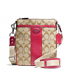 COACH SIGNATURE SWINGPACK - SILVER/LT KHAKI/PINK SCARLET - F48452