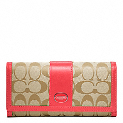 COACH SIGNATURE SLIM ENVELOPE WALLET - SILVER/LIGHT KHAKI/BRIGHT CORAL - F48462