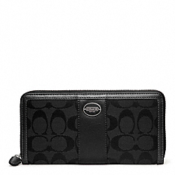 COACH SIGNATURE ACCORDION ZIP WALLET - SILVER/BLACK/BLACK - F48463