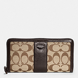 COACH ACCORDION ZIP WALLET IN SIGNATURE - SILVER/KHAKI/MAHOGANY - F48463