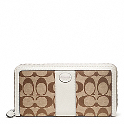COACH SIGNATURE ACCORDION ZIP WALLET - SILVER/KHAKI/PARCHMENT - F48463