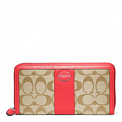 COACH SIGNATURE ACCORDION ZIP WALLET - SILVER/LIGHT KHAKI/BRIGHT CORAL - F48463