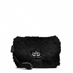 COACH MADISON FUR CLUTCH - SILVER/BLACK - F48464