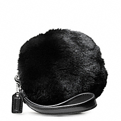 COACH MADISON FUR BALL WRISTLET - SILVER/BLACK - F48466