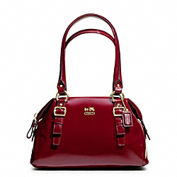 COACH MADISON PATENT SMALL BAG - BRASS/CRIMSON - F48468