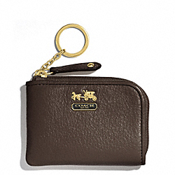 COACH MADISON LEATHER L-ZIP MINI SKINNY - BRASS/MAHOGANY - F48471