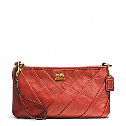 COACH MADISON DIAGONAL PLEATED LEATHER LARGE WRISTLET - BRASS/PERSIMMON - F48483