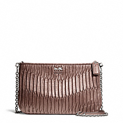 COACH MADISON GATHERED LEATHER ZIP CROSSBODY - SILVER/BRONZE - F48498