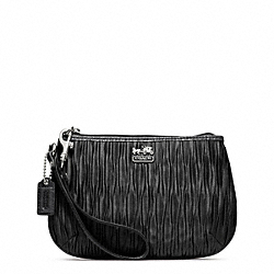 COACH MADISON PLEATED SATIN MEDIUM WRISTLET - SILVER/BLACK - F48544