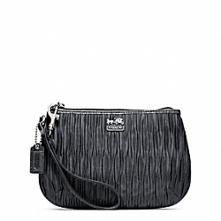 COACH MADISON PLEATED SATIN MEDIUM WRISTLET - SILVER/GUNMETAL - F48544