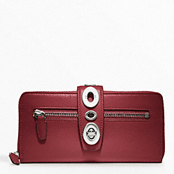 COACH ARCHIVE ACCORDION ZIP WALLET - SILVER/BLACK CHERRY - F48562