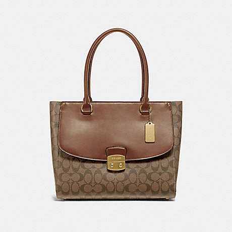 COACH AVARY TOTE IN SIGNATURE CANVAS - KHAKI/SADDLE 2/IMITATION GOLD - F48630