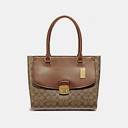 AVARY TOTE IN SIGNATURE CANVAS - KHAKI/SADDLE 2/IMITATION GOLD - COACH F48630