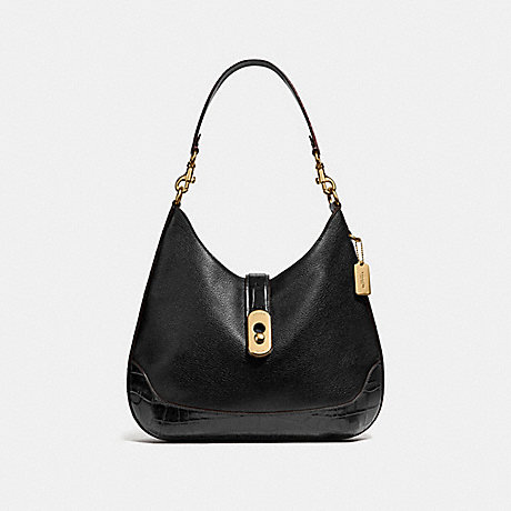 COACH AMBER HOBO - BLACK/IMITATION GOLD - F48636