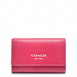 COACH LEGACY LEATHER 6 RING KEY CASE - SILVER/PINK SCARLET - F48661