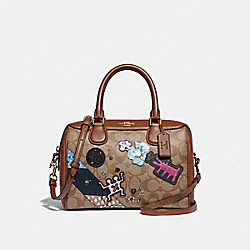 KEITH HARING MINI BENNETT SATCHEL IN SIGNATURE CANVAS WITH PATCHES - KHAKI MULTI /IMITATION GOLD - COACH F48729