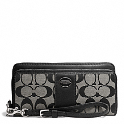 COACH SIGNATURE FABRIC DOUBLE ZIP ACCORDION WALLET - SILVER/BLACK/WHITE/BLACK - F48748