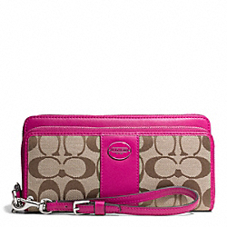 COACH SIGNATURE FABRIC DOUBLE ZIP ACCORDION WALLET - SILVER/KHAKI/BRIGHT MAGENTA - F48748