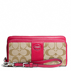 COACH SIGNATURE FABRIC DOUBLE ZIP ACCORDION WALLET - SILVER/LT KHAKI/PINK SCARLET - F48748