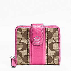 COACH SIGNATURE STRIPE SLIM MEDIUM WALLET - SILVER/KHAKI/MULBERRY - F48774