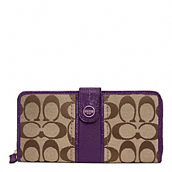 COACH SIGNATURE STRIPE ACCORDION ZIP WITH TAB - BRASS/KHAKI/PURPLE - F48784