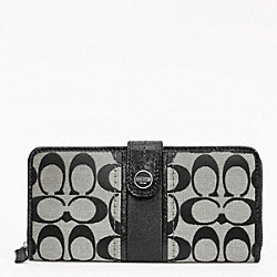 COACH SIGNATURE STRIPE ACCORDION ZIP WITH TAB - ONE COLOR - F48784
