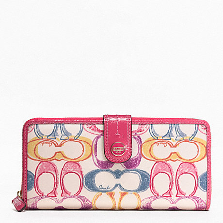 COACH SIGNATURE STRIPE SCRIBBLE PRINT ACCORDION ZIP WALLET WITH TAB - BRASS/MULTICOLOR - f48787