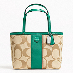 COACH SIGNATURE STRIPE TOP HANDLE TOTE - ONE COLOR - F48798
