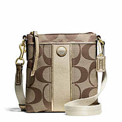 COACH SIGNATURE STRIPE SWINGPACK - BRASS/KHAKI/GOLD - F48806