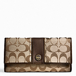 COACH SIGNATURE STRIPE CHECKBOOK WALLET - BRASS/KHAKI/MAHOGANY - F48810